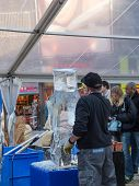 Ice Sculpting At Sculpture Festival