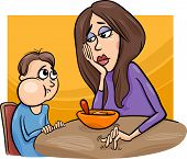 foto of fussy  - Cartoon Illustration of Cute Poor Eater Boy with his Mum having a Meal - JPG