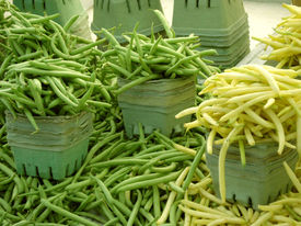 stock photo of green bean  - String beans for sale at farm market - JPG