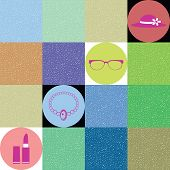 lady accessories vector on colorful background