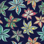 Hand-drawn Floral Texture, Ethnic Flowers.