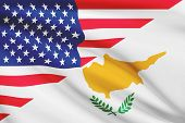 Series Of Ruffled Flags. Usa And Republic Of Cyprus.