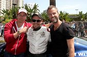 LOS ANGELES - APR 12:  Michael Trucco, Nick Wechsler, JR Bourne at the Long Beach Grand Prix Pro/Cel