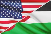 Series Of Ruffled Flags. Usa And Hashemite Kingdom Of Jordan.