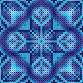 Cross stitch blue flower ornament seamless background
