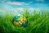 Globe lies on green grass. Concept - Earth Day