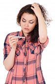 stock photo of teen pregnancy  - Beautiful girl with pregnancy test - JPG