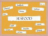 Seafood Corkboard Word Concept