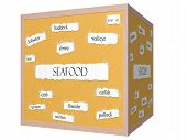 Seafood 3D Cube Corkboard Word Concept
