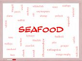 Seafood Word Cloud Concept On A Whiteboard