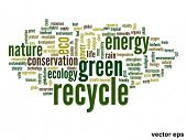 Vector eps concept or conceptual abstract green recycle and ecology and conservation word cloud text
