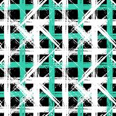 foto of cross-hatch  - Vector seamless plaid pattern with bold brushstrokes and stripes in black - JPG