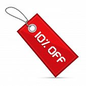 Ten Percent Off Red Discount Sale Paper Label, Tag With Strings