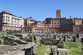 Ancient Ruins Of Imperial Forum In Rome, Via Dei Fori Imperiali.
