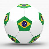 3d render of soccer football with Brazilian flag with drop shadow on white background