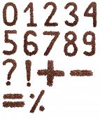 Coffee numbers isolated on white