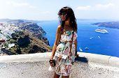 Young Woman In Santorini,thira