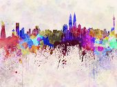 stock photo of kuala lumpur skyline  - Kuala Lumpur skyline in artistic abstract watercolor background - JPG