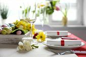 Beautiful holiday Easter table setting
