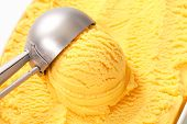 Ice cream and stainless scoop