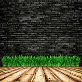 wood textured backgrounds in a room interior on the grass, brick background