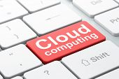 Cloud networking concept: Cloud Computing on computer keyboard background