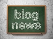 News concept: Blog News on chalkboard background
