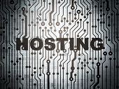 Web design concept: circuit board with Hosting