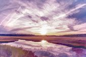stock photo of marshlands  - Dusk in Old Orchard Maine  - JPG