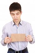 Sad Teenager With Blank Cardboard