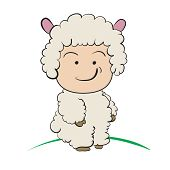 Baby In Sheep  Costume  : Done In A Hand-drawn Vector Illustration Style