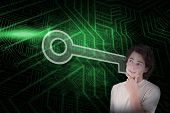 Composite image of key and casual thinking man against green and black circuit board