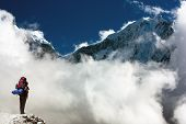 Kangtega And Thamserku With Tourist - Beautiful Mounts Above The Namche Bazar On The Way To Everest