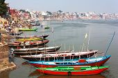 View Of Varanasi With Boats On Sacred Ganga River - Uttar Pradesh - India