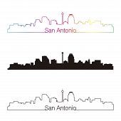San Antonio Skyline Linear Style With Rainbow