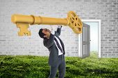 Stressed businessman carrying large key with arms raised against open door on wall on grass