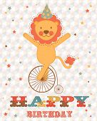 Happy birthday card with happy lion