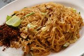 foto of stir fry  - Stir fried rice noodle on plate  - JPG