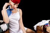 Retro Stewardess Undressing Or Dressing