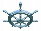 pic of ship steering wheel  - Rendered metallic ship wheel with sky reflection - JPG