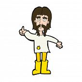 cartoon hippie man giving thumbs up symbol