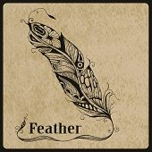 foto of std  - Vector highly detailed hand drawn tattoo feather on rorgh paper texture place for your text AI standart font Birch std - JPG