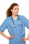 Closeup portrait of a female doctor with stethoscope, isolated on white background
