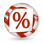 Red Abstract Icon With Paper And Percent Sign