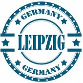pic of leipzig  - Rubber stamp with text Leipzig - JPG