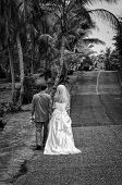 Bride and Groom on a Walk
