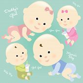 picture of male pattern baldness  - Illustration of babies having fun and holding milk bottle - JPG