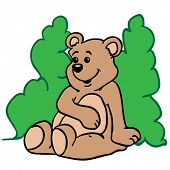 cute little bear sitting in front of green bush