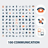 100 communication icons, signs, elements set, vector