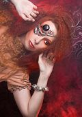 foto of woman dragon  - Smoke and young ginger woman with artistic visage - JPG